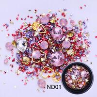 3D Pink Opal Nail Rhinestones Colorful Rivets Geometry Shell  Tips Decor