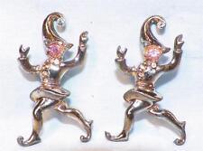 2 Jester Scatter Pins Pink Blue Silver Rhinestones Silvertone Metal Vintage 1950