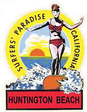 Huntington Beach California Ca Surfing Vintage Style Travel Decal