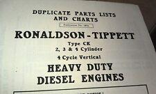 1967 RONALDSON TIPPETT Type CK Diesel Engine Factory Parts Book
