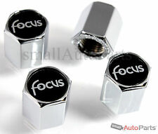 (4) Ford Focus Black Logo Chrome ABS Tire/Wheel Stem Air Valve CAPS Covers set