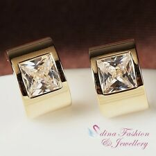 18k Yellow Gold Plated Simulated Diamond Stylish Curved Rectangle Stud Earrings