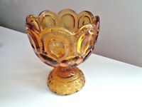 """L.E Smith Moon & Stars Glassware Amber Candy Dish on Pedestal 5.5"""" Tall"""