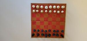 Vintage Magnetic Travel Chess Set with Leather Box