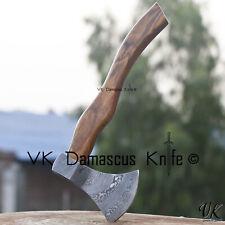 vk2218 Handmade Damascus Steel Axe Hatchet Tomahawk Knife RoseWood Handle