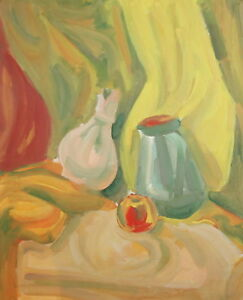 Vintage expressionist gouache still life drawing