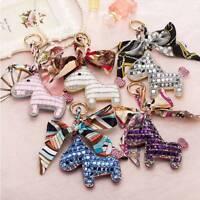 Crystal Pony Horse Bowknot Keychain Women Bag Pendant Charm Key Chain Key Ring
