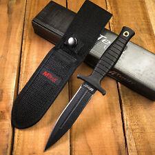 "MTech 9"" Double Edge Black Finish Fixed Blade Tactical Boot Knife + Sheath 097"