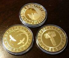 Viking 24K Gold plated coins medallions THOR Hammer Tree of Life Yin Yang WOLF