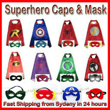 Superhero Kids Cape & Mask Costume Party Set Spiderman Hulk Ironman Incredible