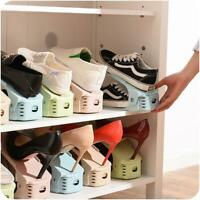 Double Layer Shoe Slots Space Saver Easy Organizer Plastic Rack Storage Holder