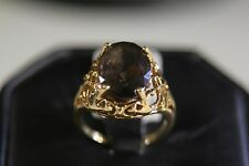 LOVELY 10k SOLID YELLOW GOLD RING WITH SMOKY TOPAZ size 6.25