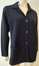 Rodier Medianoche Azul Marino Mezcla de lana con cuello con solapa chaqueta de punto superior Talla: M