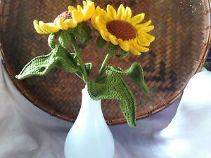 set 2 Sun Flower Crochet Handmade for Valentine Party Gift Bouquet  Acrylic DIY