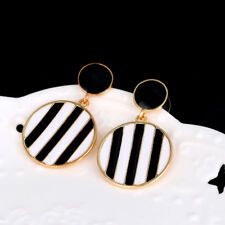 Women Stylish Black & White Stripes Round Dangle Stud Earrings Jewelry Fashion