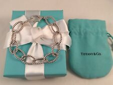 """6db51440d Tiffany & Co Sterling Silver ITALY Twist Rope Oval Link Bracelet 8"""" Rare  Retired"""