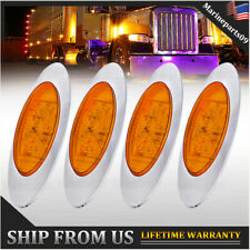 4x Amber LED Freightliner Clearance Light Oval Trailer Truck Side Marker Light