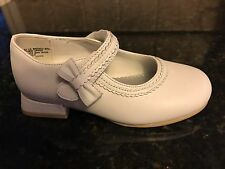 White Leather Mary Janes  Flower Girl Shoes NEW  Little Girls Size  8 1/2 Wide