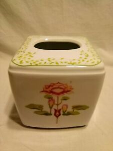 Tissue Box Cover Porcelain Flowers Handpainted Exquisite