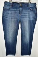 Kut From The Kloth Crop Fray Hem Jeans Womens Plus Size 20W Blue Meas. 40x26.5