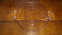 "8"" Vintage Depression Glass Round Serving Plate with Pink Hue Retro"