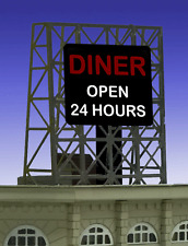 "DINER ANIMATED ROOFTOP SIGN by MILLER ENGR-N & Z SCALE-1"" W X 1.35""T"
