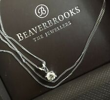 """Beaverbrooks 9ct White Gold Solitaire Diamond Necklace 0.30ct Pendant 18"""" Chain"""
