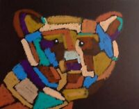 HINKLE Bear abstract Oil pastel modern art painting cubism fauvism contemporary