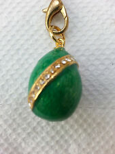 Green enamel Easter egg pendant with crystals