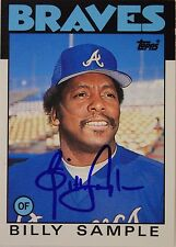 BILLY SAMPLE Braves Rangers Yankees Autograph 1986 TOPPS #98T Signed Card 16G