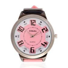 STRADA Watch Womens Pink Silicone Band Easy to Read