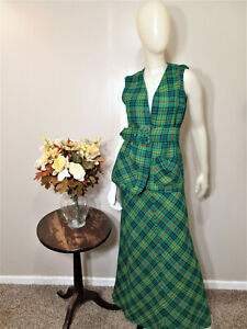 Green Plaid 2-Piece Skirt and Belted Vest Suit-Size XS/S
