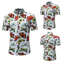 Mens Butterfly Floral Print Beach Shirts Slim Fit Casual Dress Tops Shirt Blouse