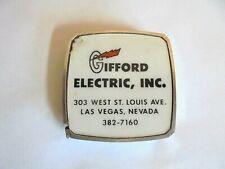 Vintage Gifford Electric Las Vegas Nevada Metal Advertising Tape Measure