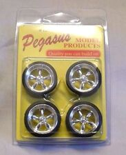 "Pegasus Chrome Torque Thrust T's  5 Spoke 19"" Wheels Tires Model Car 1/25 1/24"