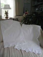 BEAUTIFUL COTTAGE WHITE CROCHET FLORAL EMBROIDERY STANDARD(PAIR) PILLOWCASES#181