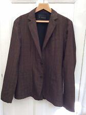 SISLEY Mens Brown Check Cotton Linen Casual Blazer Jacket Size UK 38
