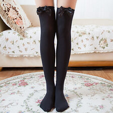 Girl Stretchy Meias Over The Knee High Socks Stockings Tights With Bows Thigh 5h Black-black