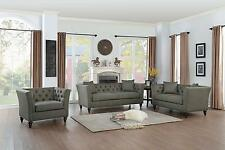 SLEEK BUTTON TUFTED BROWNISH GREY SOFA AND LOVE SEAT LIVING ROOM FURNITURE SET