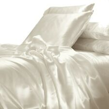 NEW Cream Satin Sheet Set KING Size Silk Feel Romantic Wedding Luxury Bedding
