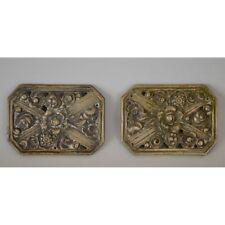 Pair French Bronze Art Deco Decorative Cabinet Plaques Parts Flowers, ca. 1930