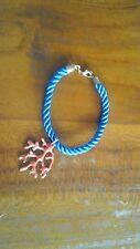 Blue rope bracelet w brass clasps & coral charm BNWOT free postage  C98