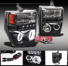 08-10 F250 F350 F450 F550 SUPER DUTY CCFL HALO DRL LED PROJECTOR HEADLIGHT BLACK