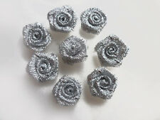 Silver Small Mini Satin Ribbon Rose Buds Flowers Embellishment 10 20 30 PK 1.5cm