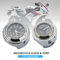 "7/8"" 1"" Motorcycle Bike Handlebar Mount White Dial Clock & Thermometer Temp"
