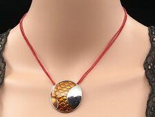 orange enamel silver plate round pendant hemp necklace jewelry birthday gift N47