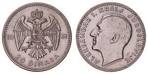 K.815} YUGOSLAVIA 20 dinara 1931 / Silver / VF