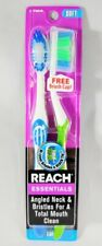 (2 Pack) Reach Essentials Soft Bristle Toothbrushes with FREE Brush Cap