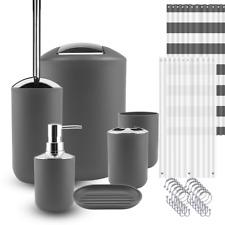 9 Piece Bathroom Accessories Set Soap Dish Shower Curtain Toilet Brush Trash Bin
