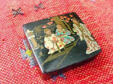 Meiji Style Japanese Black Lacquer Stamp Box ~ Beautifully Painted Geisha Scene